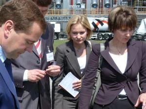 I due presidenti, Medvedev e Calmy-Rey.